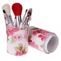 Portable 7-Pcs Barrelled Cosmetic Brush Kit Makeup Brushes Set-Pink Flower