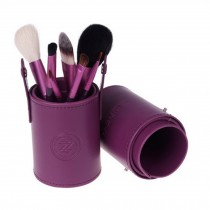 Portable 7-Pcs Barrelled Cosmetic Brush Kit Makeup Brushes Set-Purple