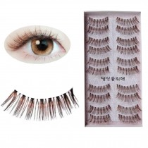 Handmade Natural Soft False Eyelashes Fake Eye Lash, Brown Fake Eyelashes