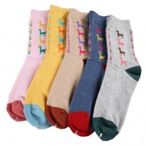 Set of 5 Pairs Women Autumn/Winter Thicken Warm Cute Cotton Socks Horse