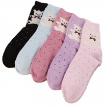 Set of 5 Pairs Women Autumn/Winter Thicken Warm Cute Cotton Socks A