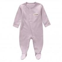 Unisex Long Sleeve Baby Bodysuit Infant Coverall Kid Sleeper, Light Purple
