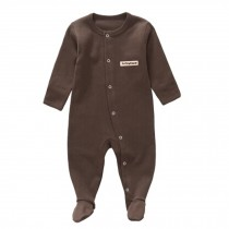 Unisex Long Sleeve Baby Bodysuit Infant Coverall Kid Sleeper, Coffee
