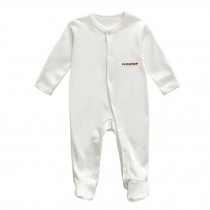Unisex Long Sleeve Baby Bodysuit Infant Coverall Kid Sleeper, White