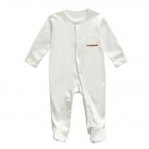Unisex Long Sleeve Baby Bodysuit Infant Coverall Kid Sleeper, White