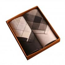 Set of 2 Men Pocket Square 100% Cotton Soft Plaid Handkerchiefs ,Black/Gray