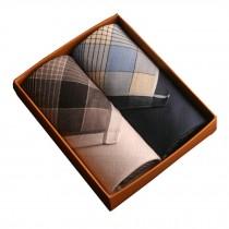 Set of 2 Men Pocket Square 100% Cotton Soft Plaid Handkerchiefs ,Blue/Gray