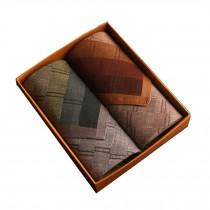 Set of 2 Men Pocket Square 100% Cotton Soft Plaid Handkerchiefs ,Brown/Green