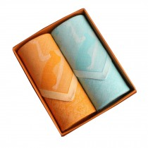 Set of 2 Women 100% Cotton Soft Elegant Lady Handkerchiefs,Orange/Blue
