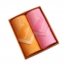 Set of 2 Women 100% Cotton Soft Elegant Lady Handkerchiefs,Orange/Pink