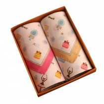 Set of 2 Women 100% Cotton Soft Fairy Tale World Handkerchiefs,Beige/Pink