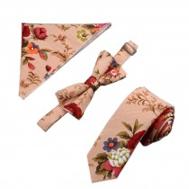 Mens Popular Formal/Informal Ties Set Necktie/Bow Tie/Pocket, Colorful Flower