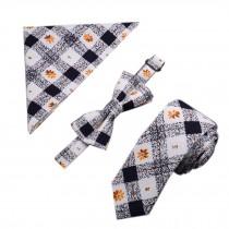 Mens Popular Formal/Informal Ties Set Necktie/Bow Tie/Pocket, White/black