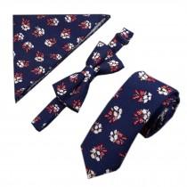 Mens Fashionable Wedding Ties Set Necktie/Bow Tie/Pocket, White Small Flower