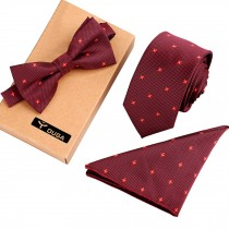 Stylish Necktie/Bow Tie/Pocket Square Fashionable Formal/Informal Ties Set