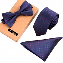 Mens Stylish Formal/Informal Ties Set, Necktie Bow Tie Pocket Square Navy