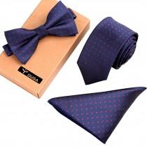 Mens Stylish Formal/Informal Ties Set, Necktie Bow Tie Pocket Square Navy