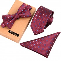 Mens Formal/Informal Ties Set, Red Fashionable Necktie/Bow Tie/Pocket Square