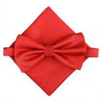 Stylish Wedding Bow Tie Pocket Square Pocket Cloth Handkerchief Red