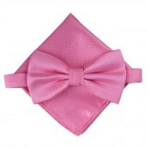 Stylish Wedding Bow Tie Pocket Square Pocket Cloth Handkerchief Pink