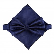 Stylish Wedding Bow Tie Pocket Square Pocket Cloth Handkerchief Navy