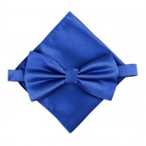 Stylish Wedding Bow Tie Pocket Square Pocket Cloth Handkerchief Royalblue