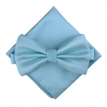 Stylish Wedding Bow Tie Pocket Square Pocket Cloth Handkerchief Light Blue