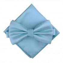 Stylish Wedding Bow Tie Pocket Square Pocket Cloth Handkerchief Light Blue