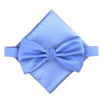 Stylish Wedding Bow Tie Pocket Square Pocket Cloth Handkerchief Blue