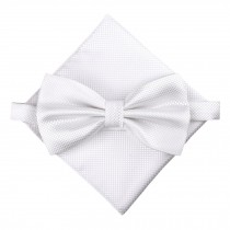 Stylish Wedding Bow Tie Pocket Square Pocket Cloth Handkerchief White