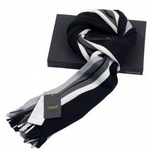 Stylish Men's Scarf Colorful Striped Knitted Long Scarf Thicken Black/Gray