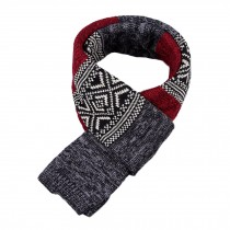 Winter Men's Stylish Scarf Knitting Long Scarf Colorant Match Scarf Black & Red