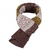 Winter Men's Stylish Scarf Knitting Long Scarf Colorant Match Scarf Yellow/Brown
