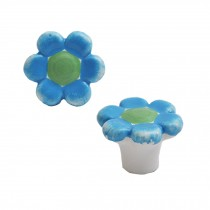 Colorful Flowers 38mm Ceramic Cabinet Knobs Drawer Pull Handles Blue 1pcs