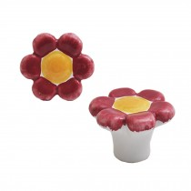 Colorful Flowers 38mm Ceramic Cabinet Knobs Drawer Pull Handles Red 1pcs
