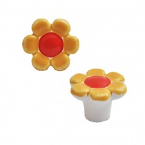 Colorful Flowers 38mm Ceramic Cabinet Knobs Drawer Pull Handles Yellow 1pcs