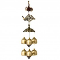 Chinese style Good Luck Wind Chimes Wind Bell 6 Copper Bells, L