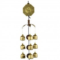 Chinese style Good Luck Wind Chimes Wind Bell 9 Copper Bells, S