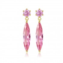 Tear Drop Hypoallergenic Rhinestone Stud Lady Crystal Earrings Pink