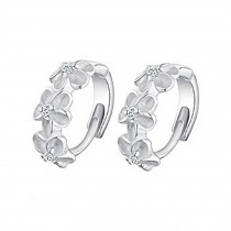 Set Of 2 Women Sterling Silver Round Cubic Stainless Steel Hoop Flower Earrings