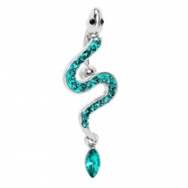 316L Steel Crystal Slithering Snake Chain Dangle Navel Belly Button Ring Green