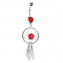 316L Steel Crystal Dream catcher Chain Dangle Navel Belly Button Ring RED