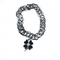 Tattoo Stretch Choker Necklace Pendant Choker Necklace Clover Pendant Black