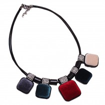 Retro Fashion Choker Necklace Pendant Choker Necklace Colorful Suede Pendant