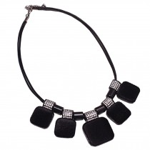 Retro Fashion Choker Necklace Pendant Choker Necklace Black Suede Pendant