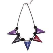 Retro Fashion Choker Necklace Pendant Choker Necklace Colorful Triangle Pendant