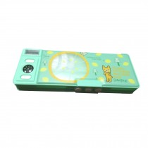 Two-sided Combination Lock Plastic Students Stationery Pencil Case, Green