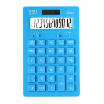 Ultrathin Dual Power 12 Digits Desktop Calculator, LCD Display, Light Blue