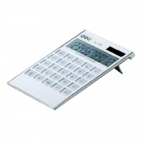 Ultrathin Dual Power 12 Digits Desktop Calculator, LCD Display, White
