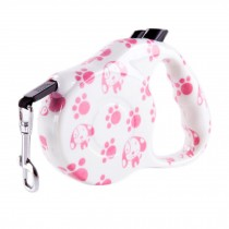 [16-feet Long]Retractable Pet Leash Dog Belt Dog Leash Strap Rope-Pink Footprint